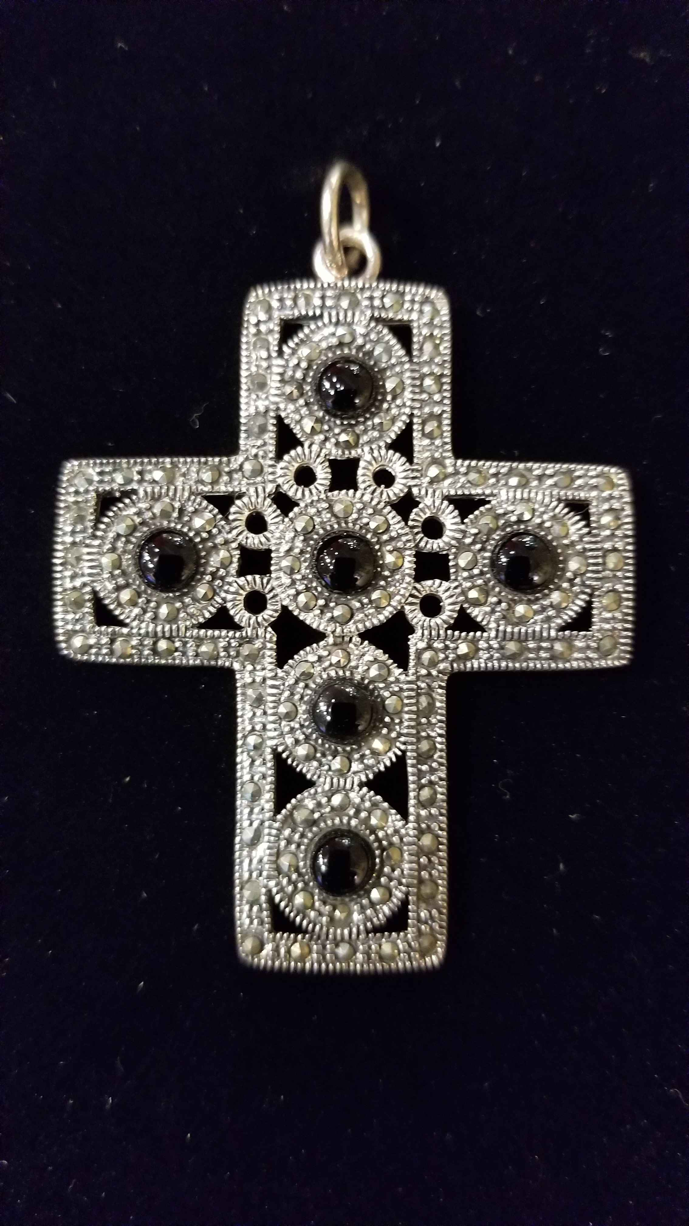 Pendant - Cross w/Onyx by  Gallery Pieces - Masterpiece Online
