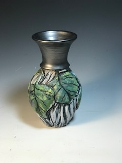 Small Green Leaf Vase with Black Top