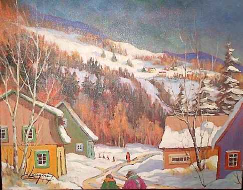 Village sur la collin... by  Claude Langevin - Masterpiece Online