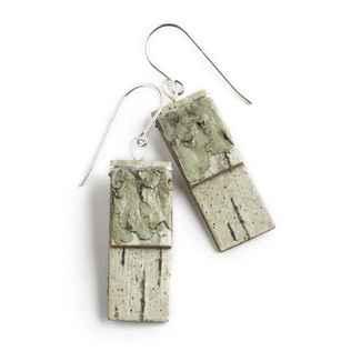 Salon Earrings Birch Bark and Sterling, 1 1/4