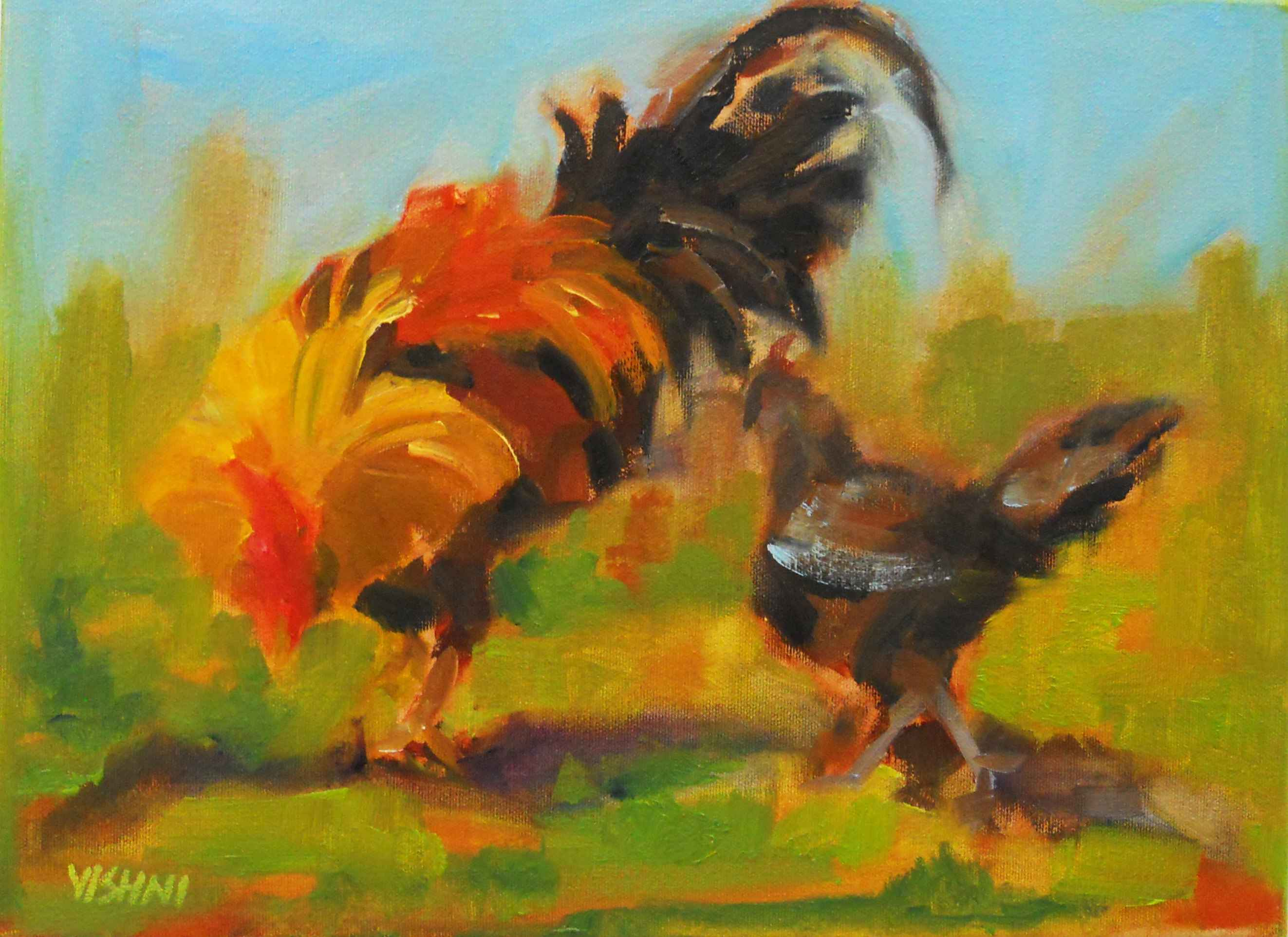 Rooster and Hen 11 by Mrs. Vishni Gopwani - Masterpiece Online