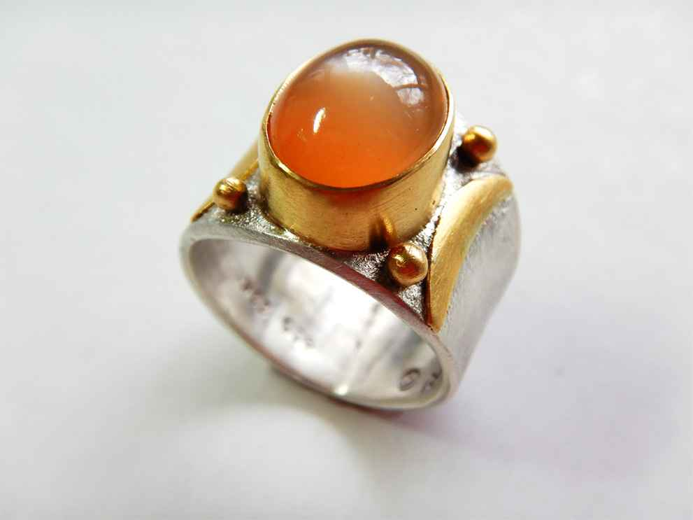 Double Moon Ring Sterling, 22k Gold and Moonstone, Size 8