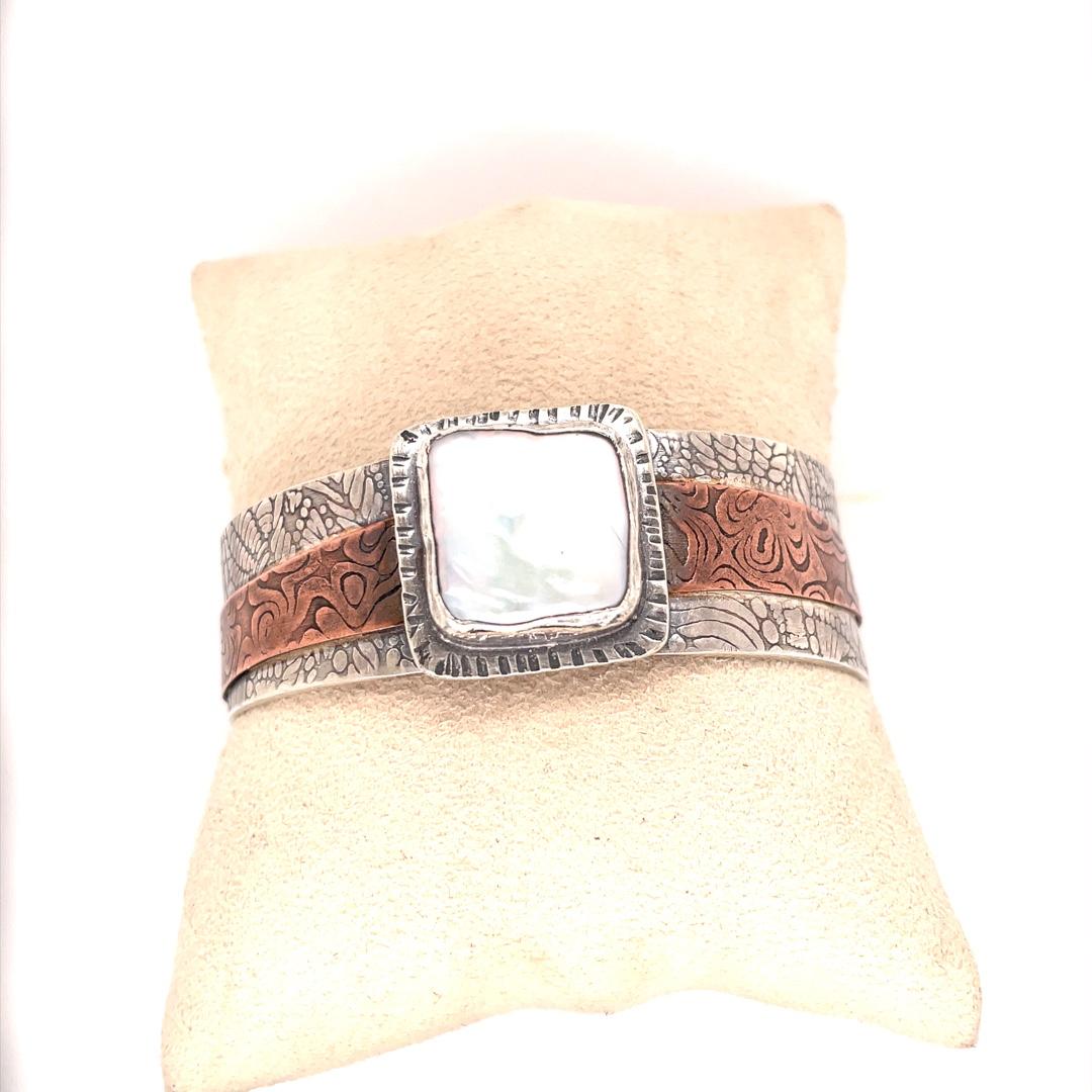 Square Coin Pearl, Sterling Silver and Copper Cuff