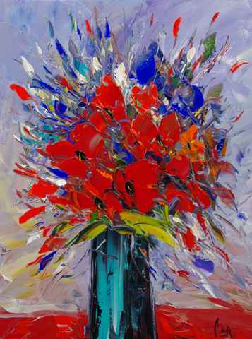 Red Poppies in Blue G...