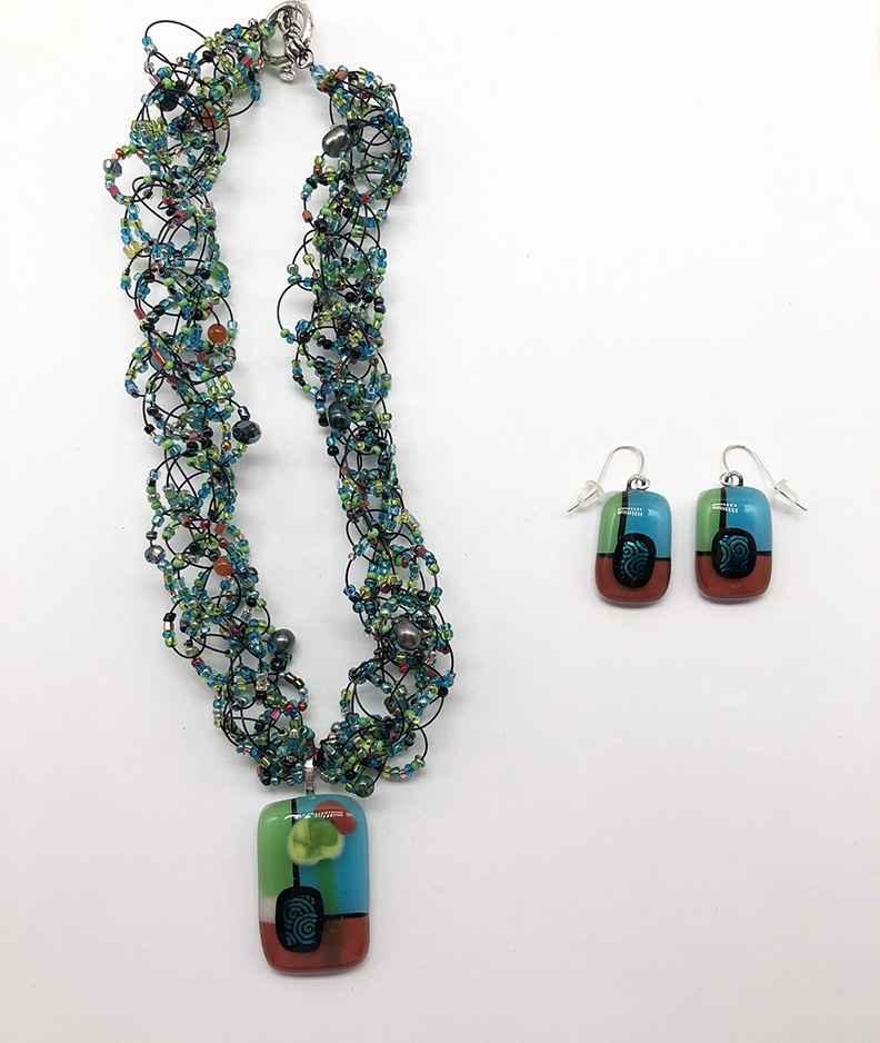 Brick/Teal/Green Fused Glass Earrings