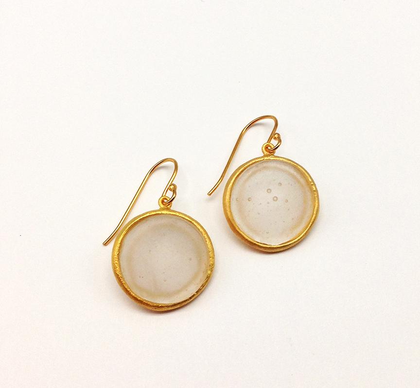 Bubble Dainty Wire Earrings in Frosted Clear