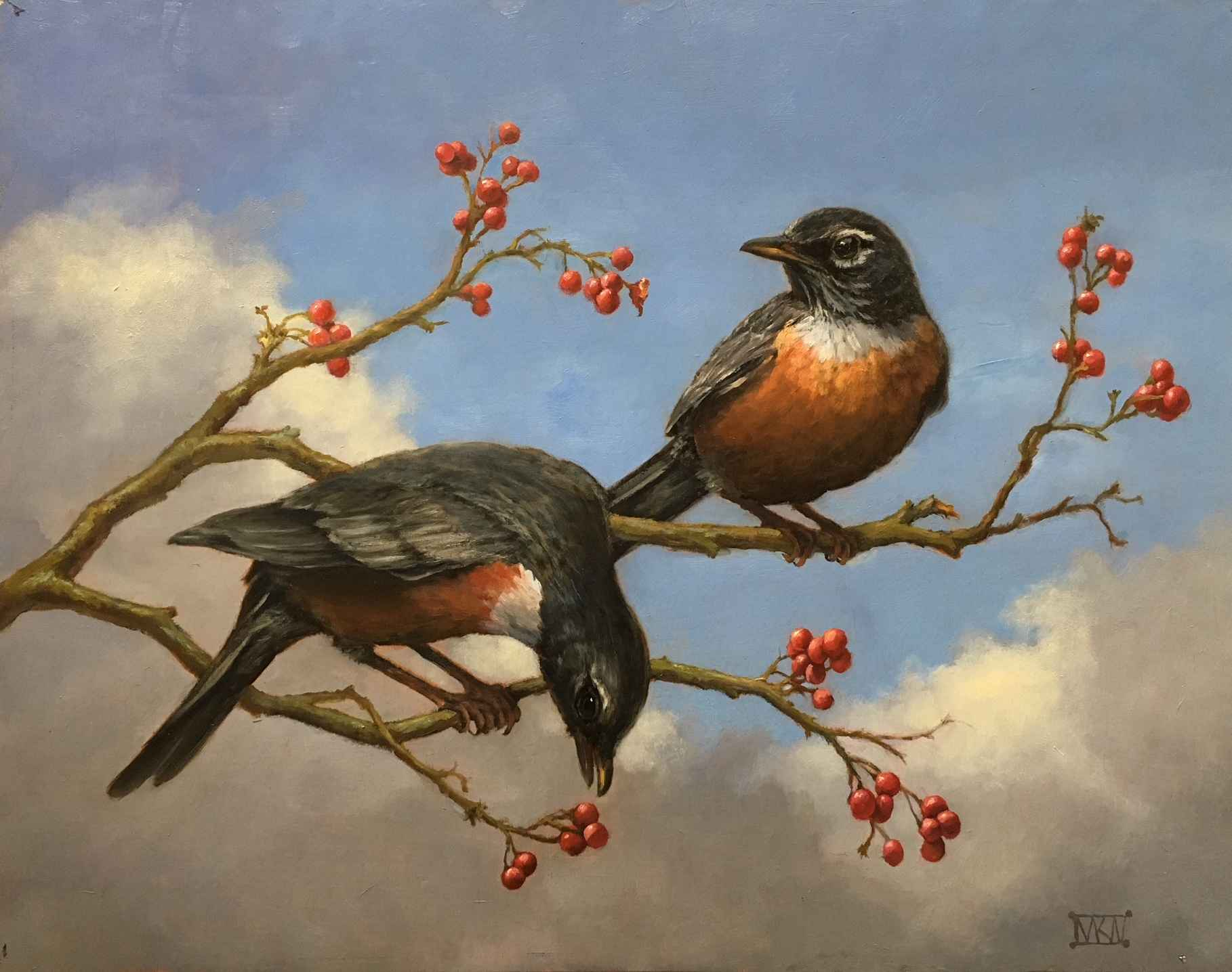 American Robins by  Mary Kay  West  - Masterpiece Online