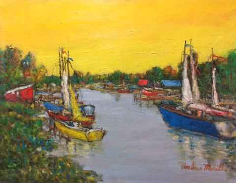 Harbor Scene with Yel... by  Andres  Morillo - Masterpiece Online