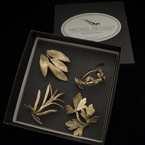 Herb Napkin Rings - Set of 4, Antique Bronze
