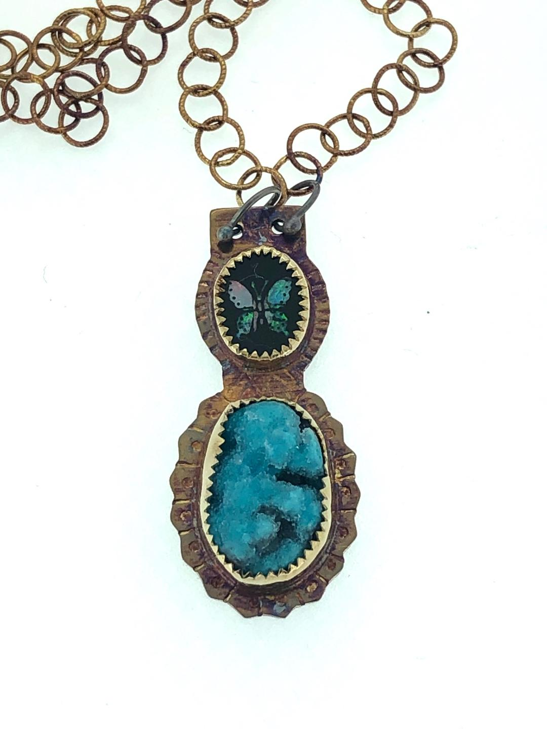 Butterfly Necklace in s/s, mosaic opal, vintage stone with chrysocolla druzy.  Total length 20.5