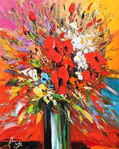 Bouquet of Red by  Louis  Magre - Masterpiece Online
