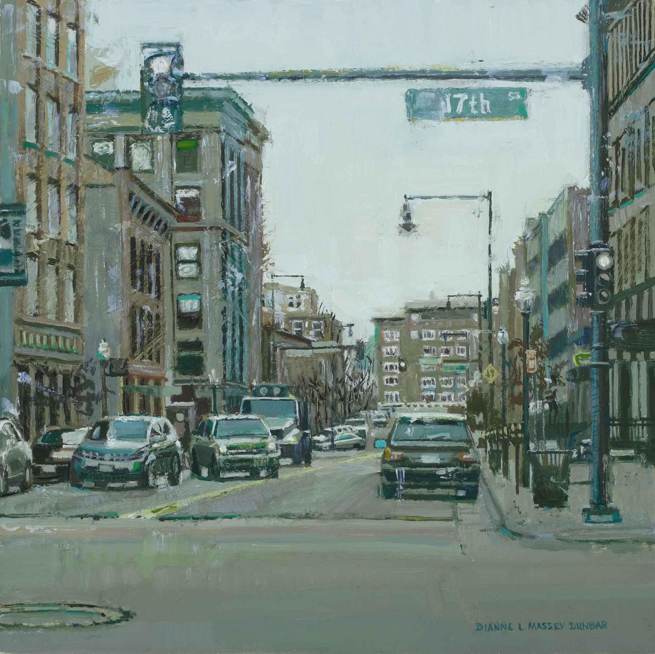 Cityscape in Green by  Dianne Massey Dunbar - Masterpiece Online