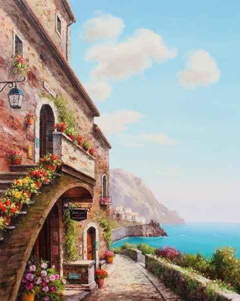 Cliffside Village by  Soon Ju Choi  - Masterpiece Online