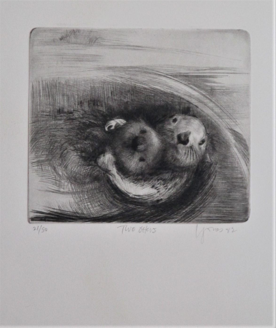 Two otters (frame) by  Liza Jones - Masterpiece Online