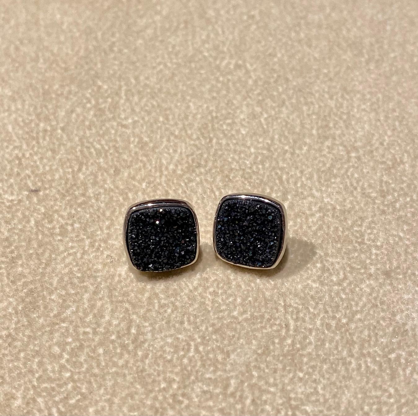 Black Druzy Squares set in Silver Earrings, 10mm
