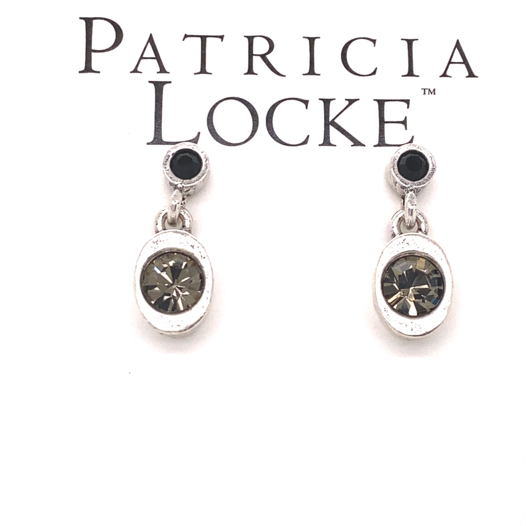 Stinger Earrings in Silver, Black & White