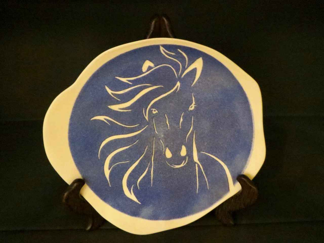 Light Blue Horse Plat... by Ms. Birgitta Frazier - Masterpiece Online