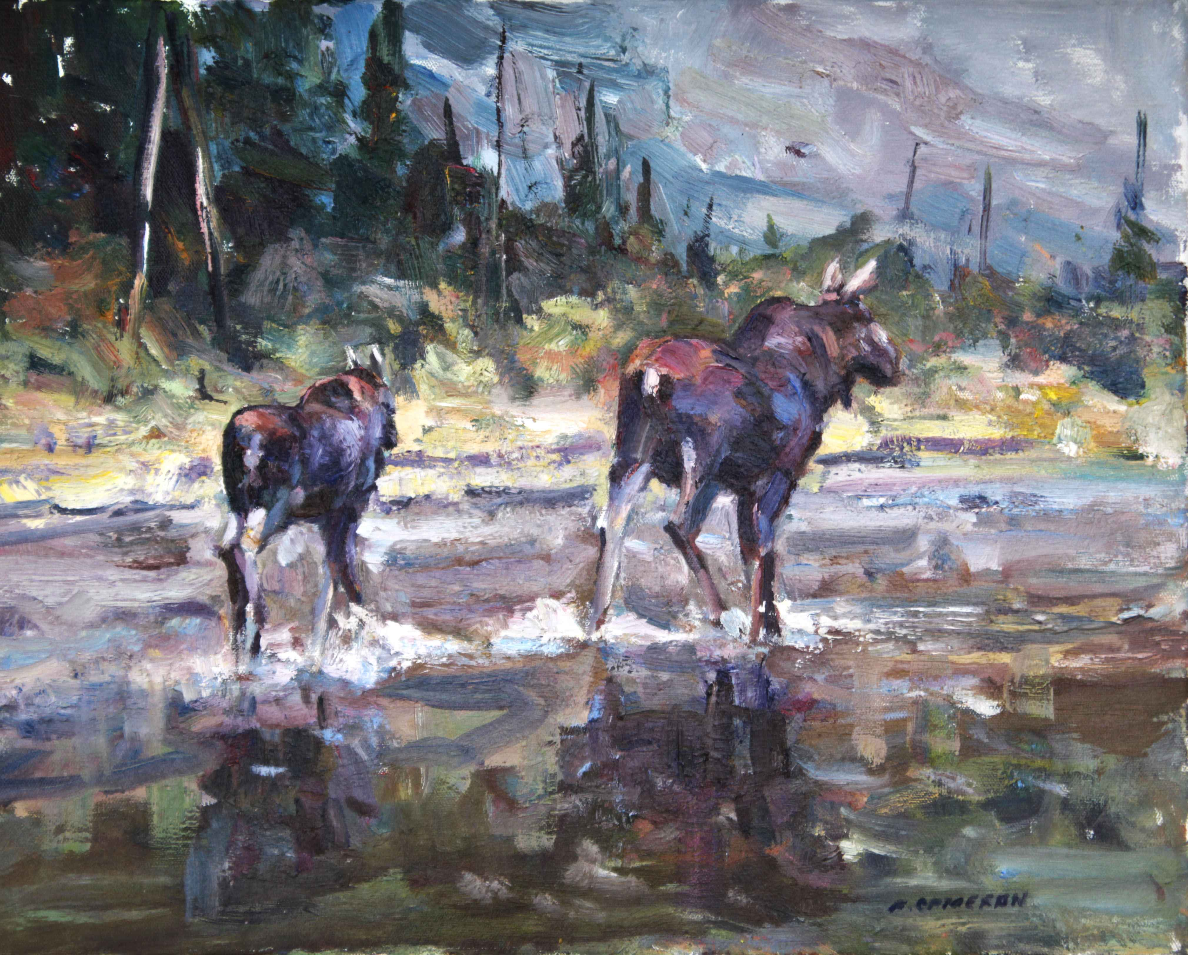 Cow and Calf Crossing  by  Fred Cameron