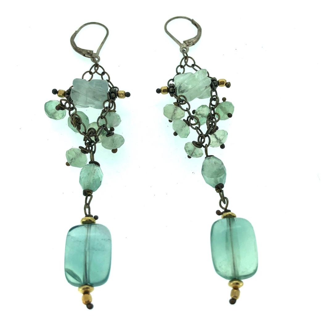 Aquamarine and Fluorite Beaded Earrings with Rectangle Dangle