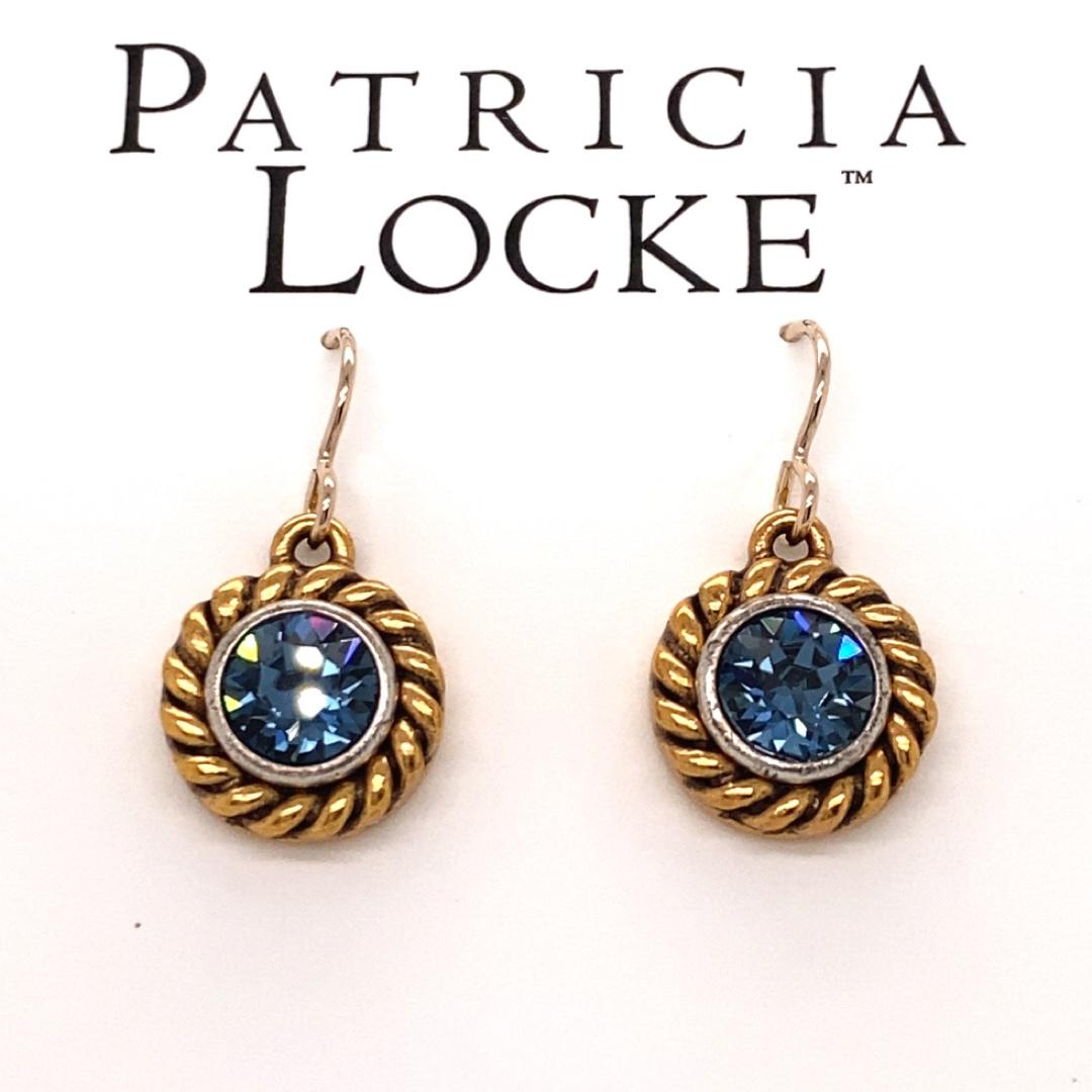 Philosopher's Stone Earrings in Gold, Denim Blue