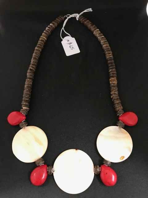 Coconut wood Red Ston... by Mrs Larissa Hale - Masterpiece Online