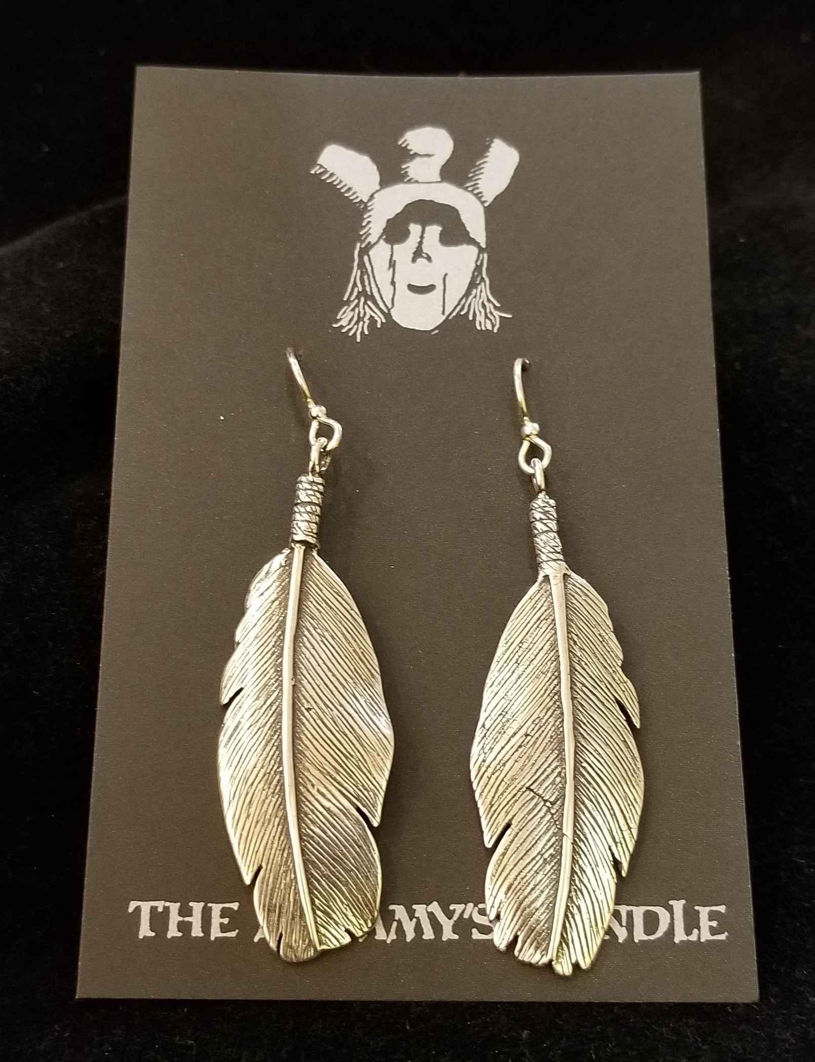 Silver Feather Earrin... by  Mummy's Bundle - Masterpiece Online