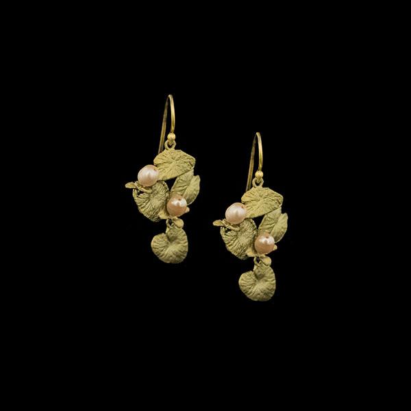 Water Lily Dangle Wire Earrings