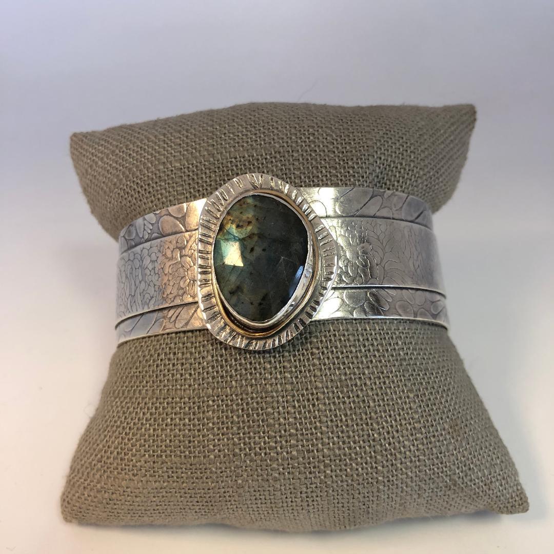Labradorite Cuff in Sterling Silver with 14k Trim