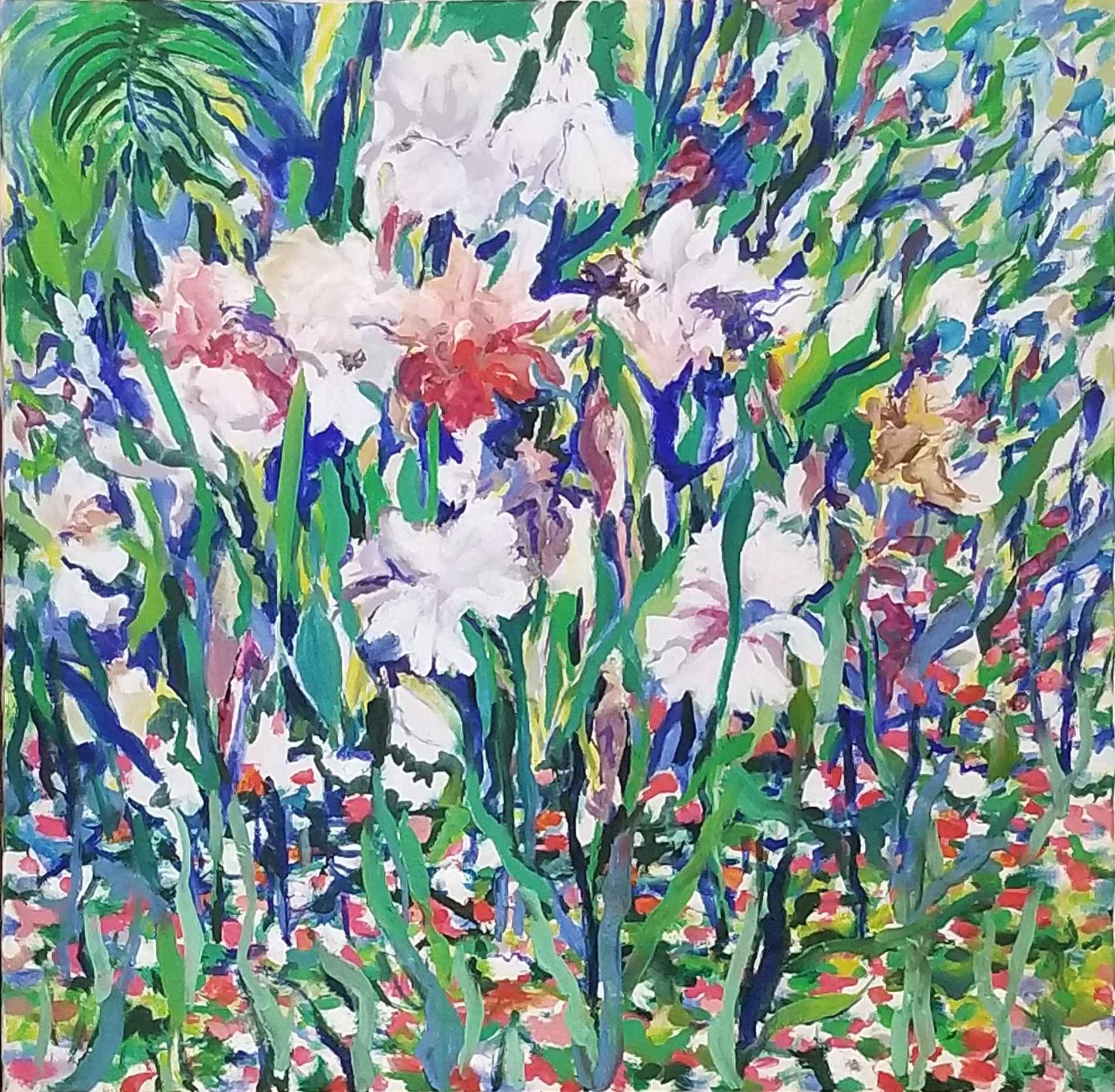 Garden's Edge Irises by  Mary Theisen - Helm - Masterpiece Online