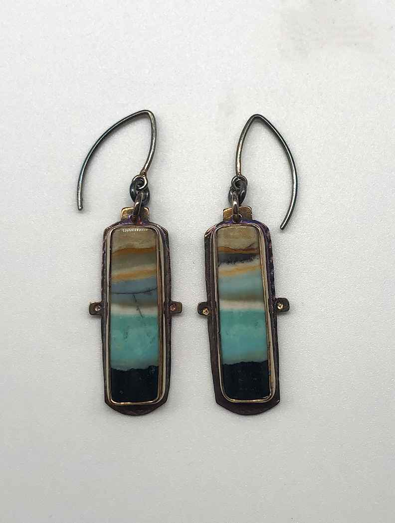 Sterling and Blue Opal Displaced Petrified Wood Earrings