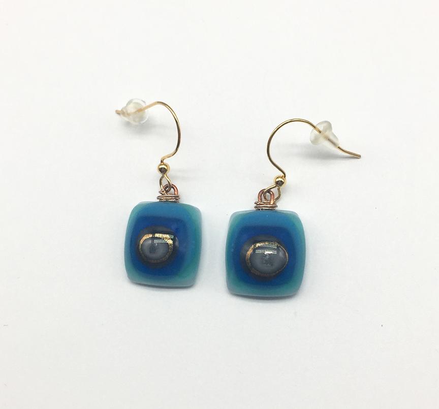 Teal/Blue Fused Glass Earrings