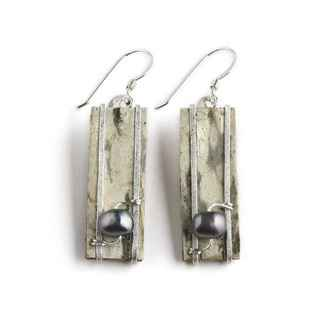 Lake Superior Earrings Birch Bark, Freshwater Pearls and Sterling, 1