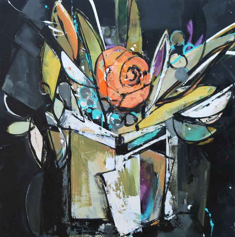 Orange Bloom on Black by  Katie Leahul - Masterpiece Online