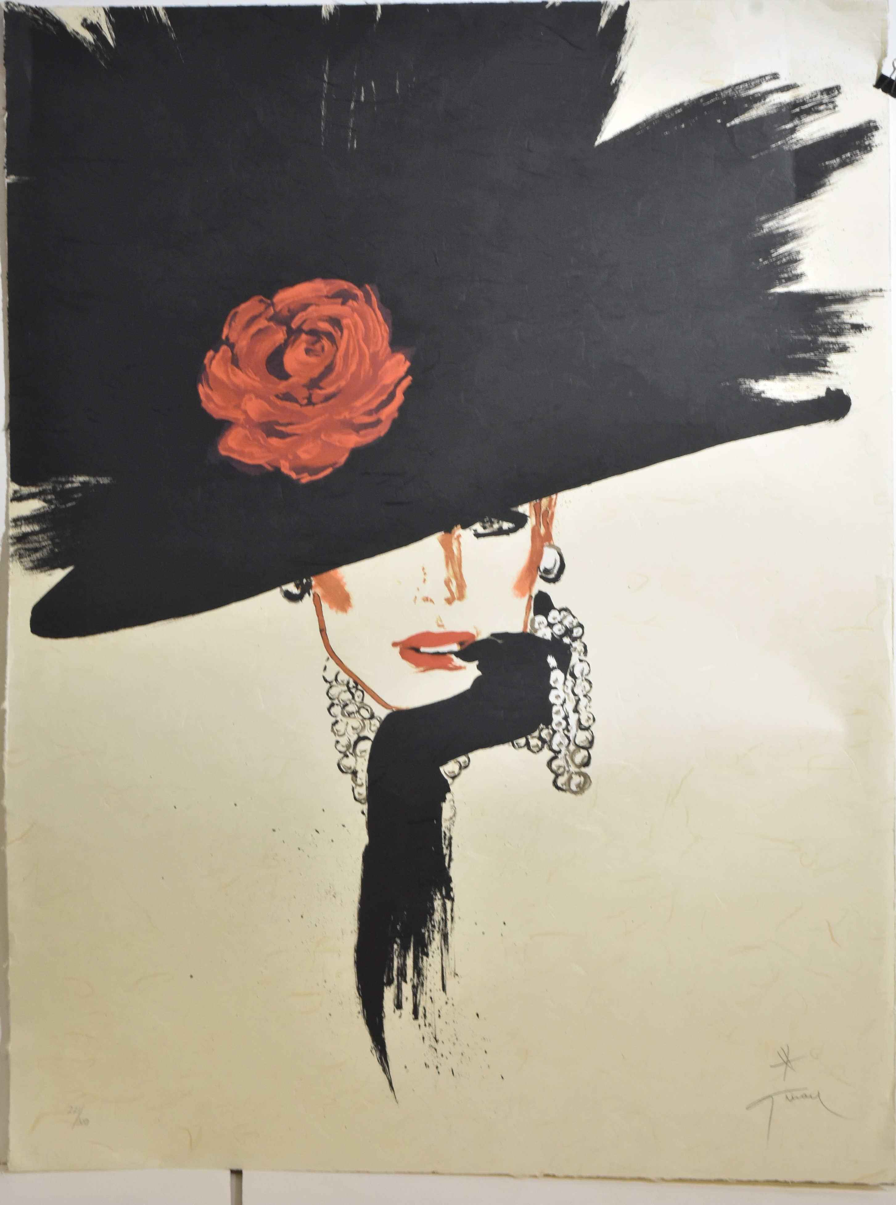 Black Hat with Rose by  Rene Gruau - Masterpiece Online