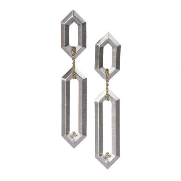 Hexagon Link Earrings... by Ms. Maria Samora - Masterpiece Online