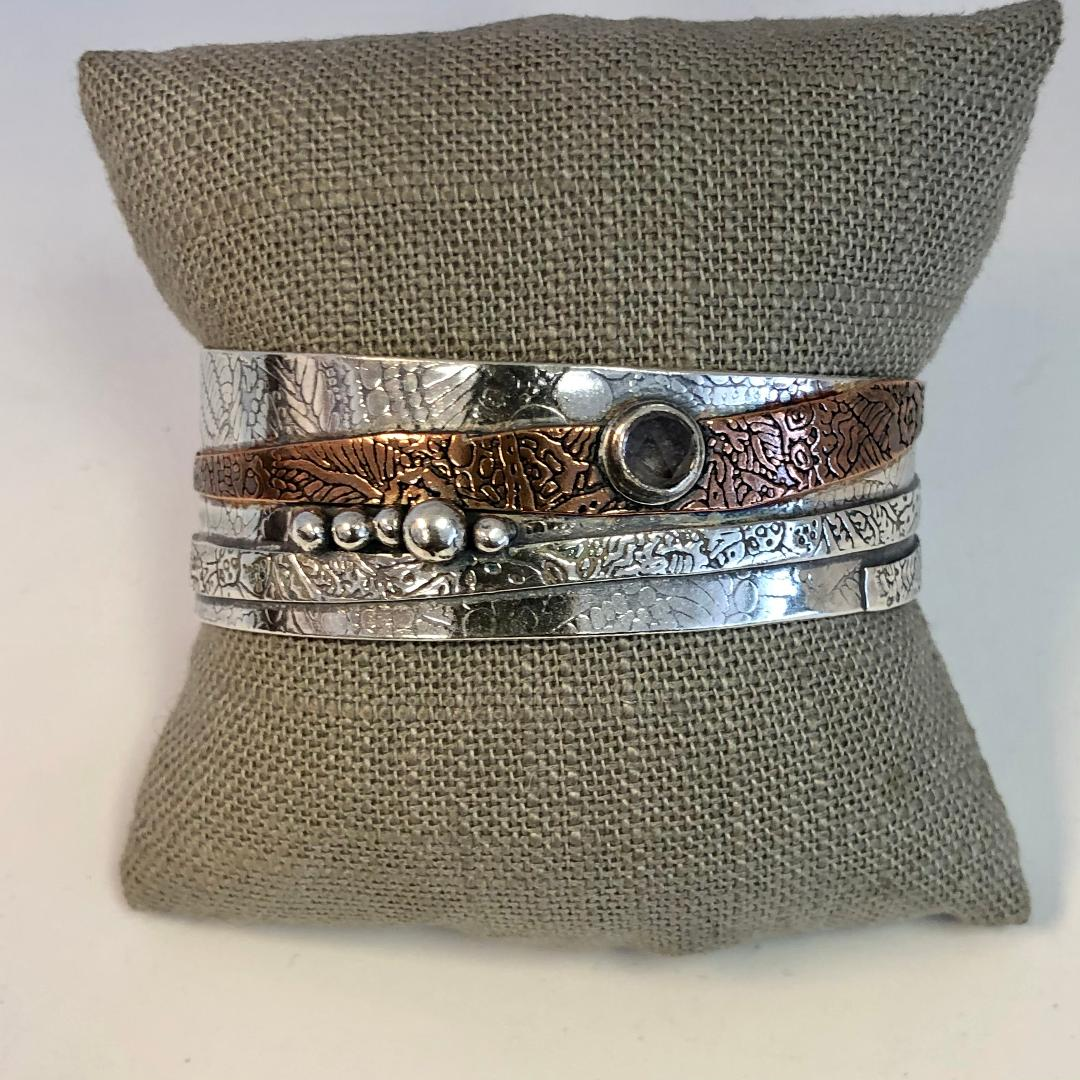Spinel Cuff in Sterling Silver and Copper