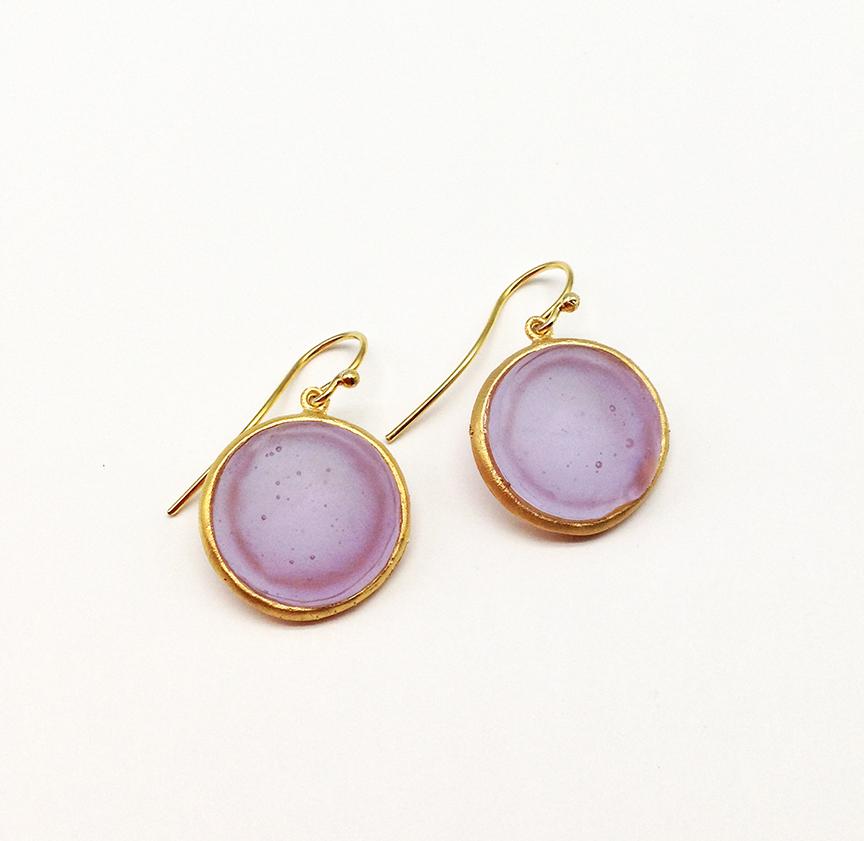 Bubble Dainty Wire Earring in Lavender