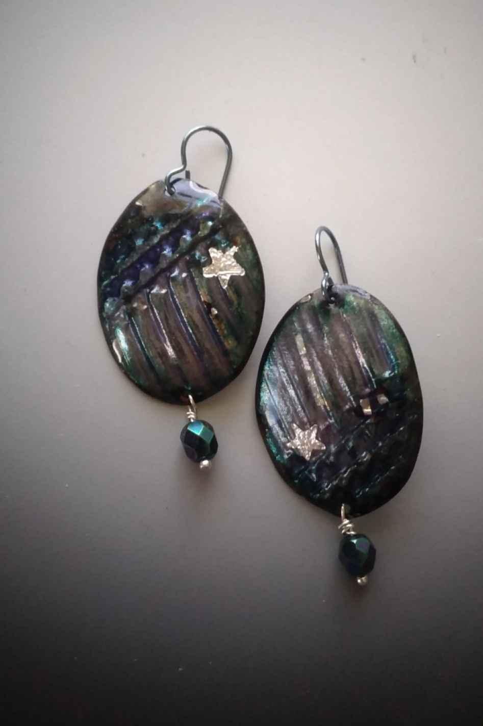 Corrigated Copper Purple Earrings