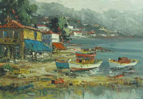 Gray Day at the Harbor by  Fani  Parlapani  - Masterpiece Online