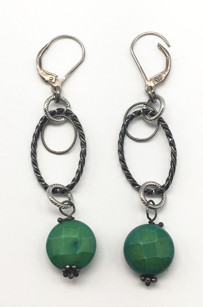 Green, Oval Drop Earrings