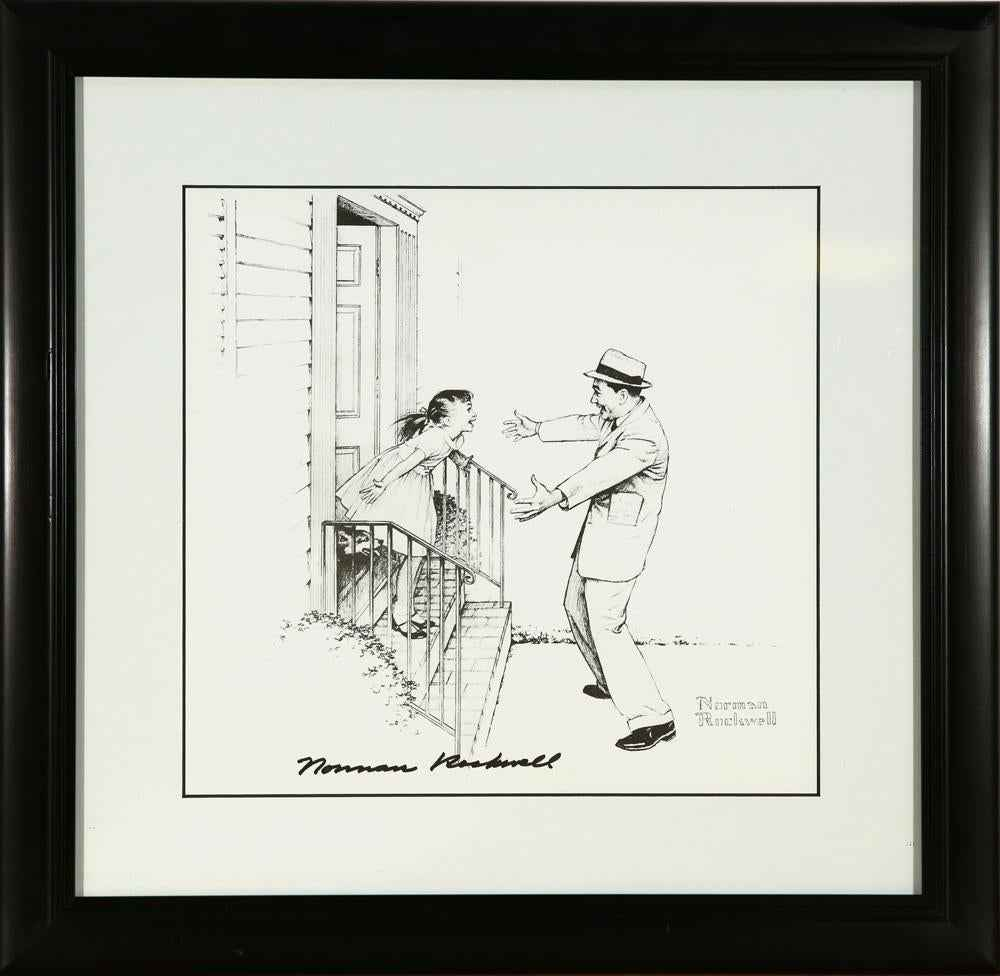 Father Welcomes Daugh... by  Norman Rockwell - Masterpiece Online
