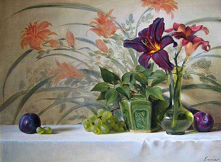 Daylilies and Japanes... by Ms. Cary Ennis - Masterpiece Online