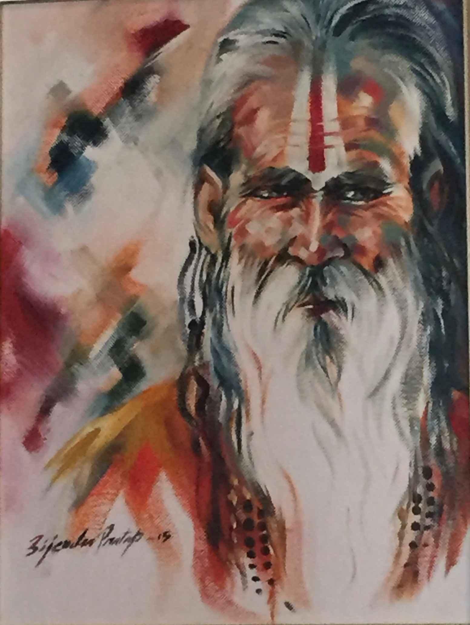 Sadhu II (Oil) by  Bijendra Pratap - Masterpiece Online