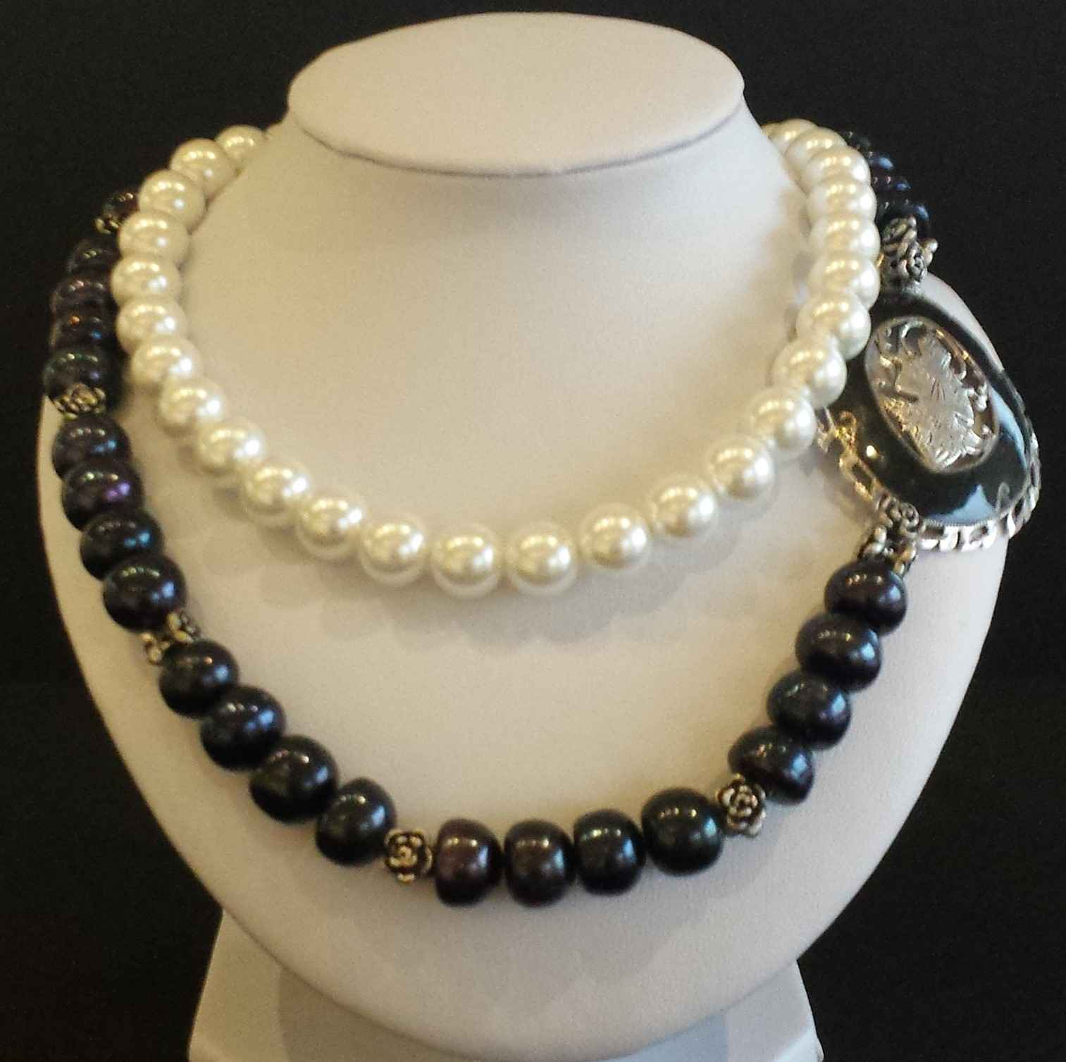 Black and White Akoya... by  Janet Hubbard - Masterpiece Online