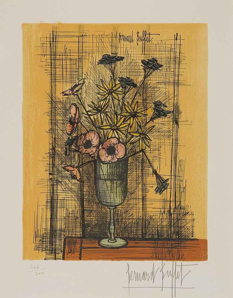 Still Life With Flowe... by  Bernard Buffet - Masterpiece Online