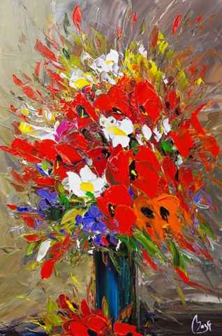 Red & Orange Floral by  Louis  Magre - Masterpiece Online