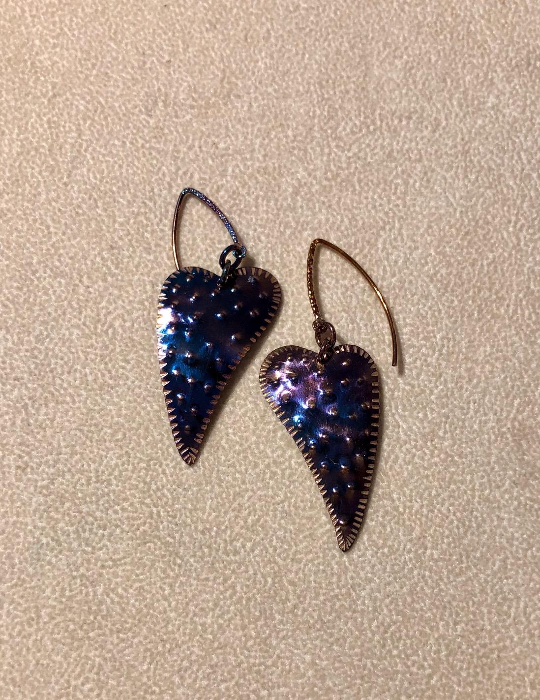 Oxidized Sterling Heart Earrings