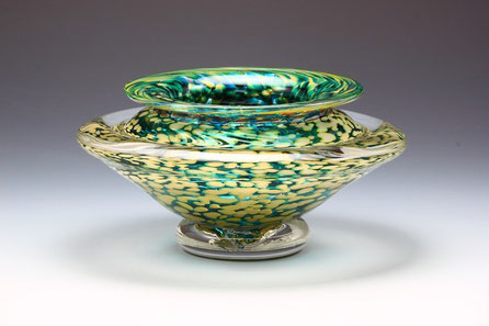 Small Ikebana Bowl in Transparent Teal