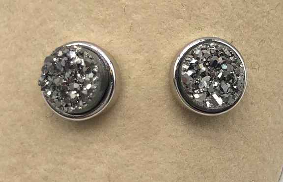 6mm Round Silver Druzy set in Silver Earrings