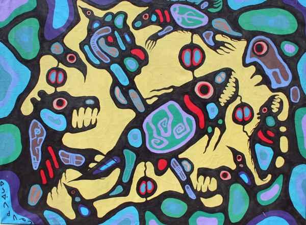 Medicine Bear by  Norval Morrisseau - Masterpiece Online